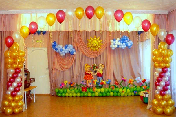 Украшение шариками на выпускной в детском саду