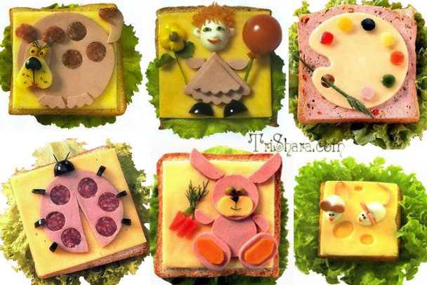 Фигурки на бутербродах