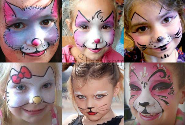 Грим кошки для мальчиков и девочек на Хэллоуин