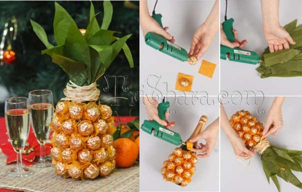 Пошаговое изготовление ананаса из конфет