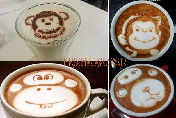 Пена с рисунком обезьяны