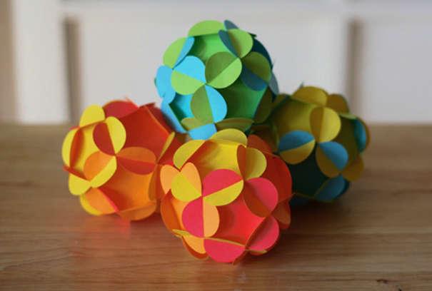 Цветные шары-многогранники из бумаги