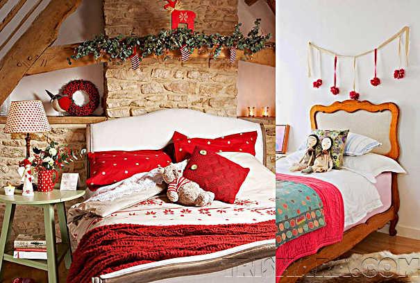 Новогодний декор кровати в детской