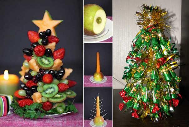 Ёлочки из фруктов и конфет