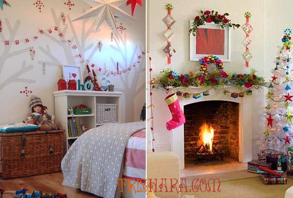 Украшение новогодними гирляндами в девичьей комнате
