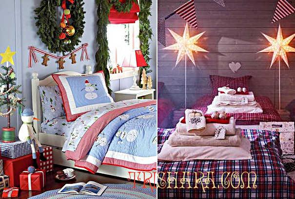 Красно-синий интерьер праздничной комнаты