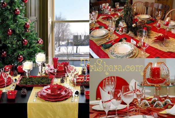 Красный и золотой цвет в оформлении стола