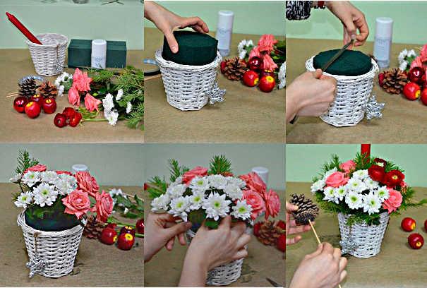 Пошаговое изготовление цветочной композиции