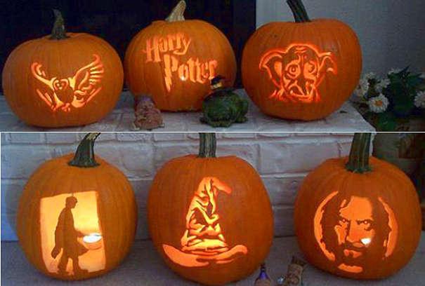 Тыквы на Хэллоуин с мотивами из Гарри Поттера