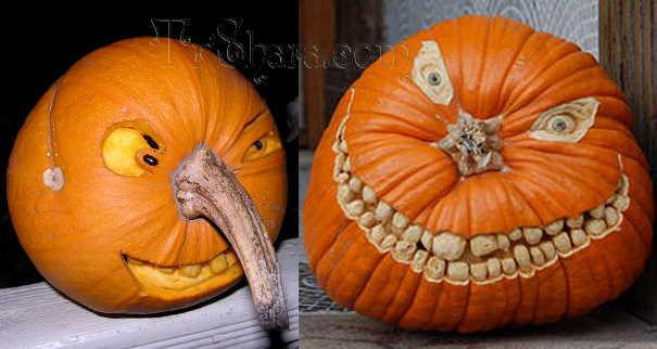 Страшные рожи на тыкве на Хэллоуин