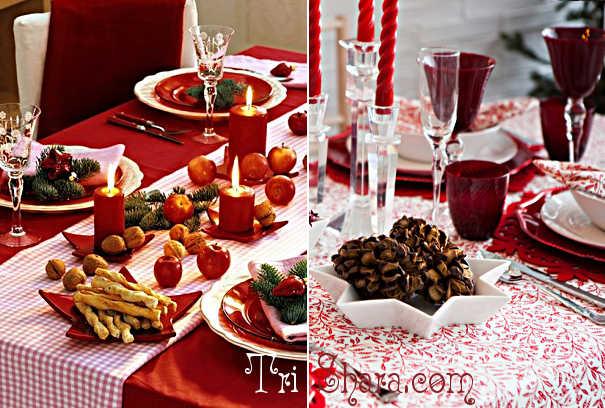 Скатерти с контрастными салфетками на новогоднем столе