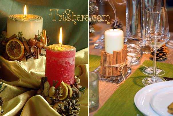 Новогодние свечи, декорированные корицей и фруктами