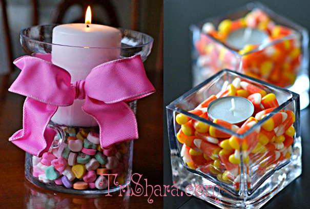 Свечи с конфетами в бокалах