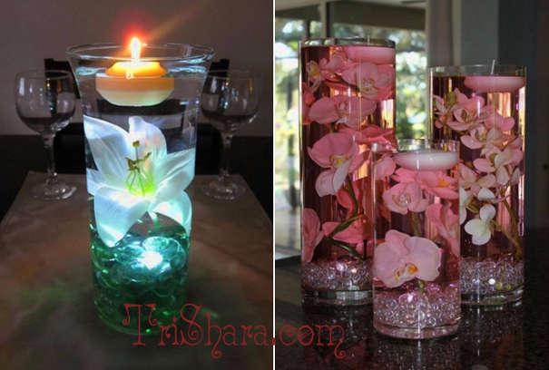 Свечи, плавающие в воде с цветами