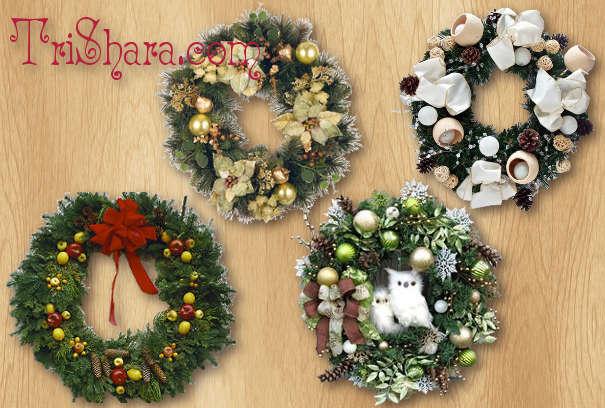 Разнообразные хвойные новогодние веночки