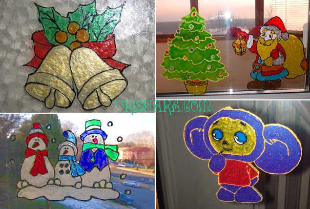 Детские рисунки на окнах из витражных красок