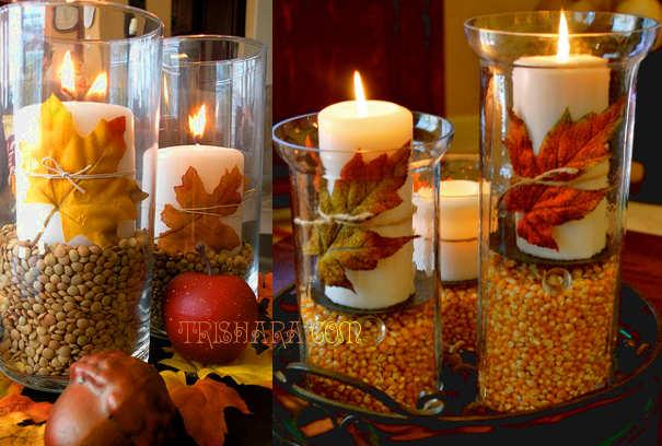 Необычные свечи с зерном и листвой