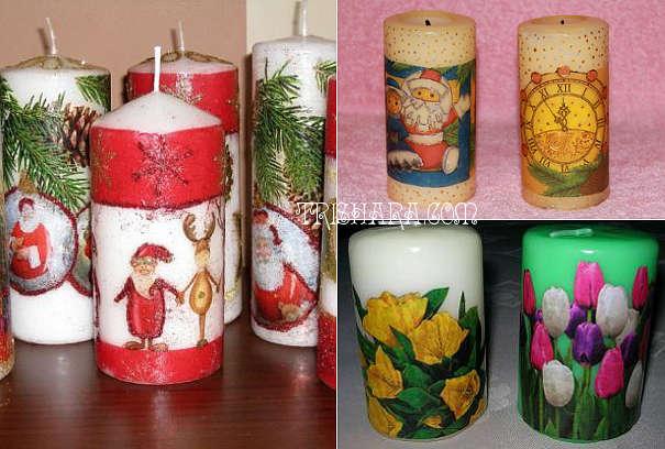 Новогодние свечи с декупажем