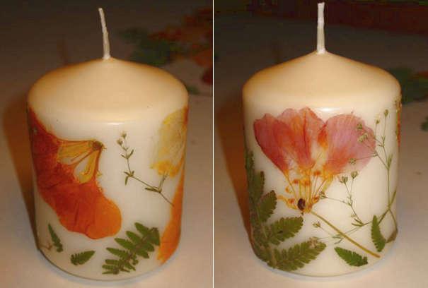 Готовая декупажная свеча