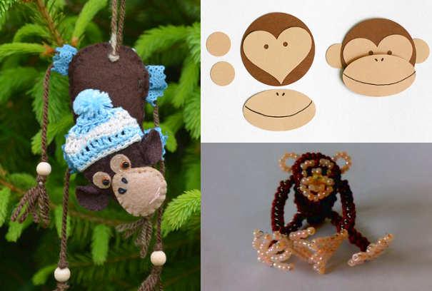 Фигурки обезьянки на ёлку