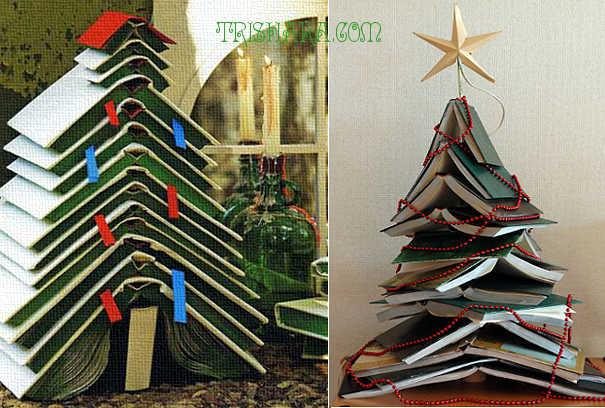 Декоративные ёлки из книг