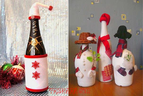 Забавные новогодние фигуры из бутылок