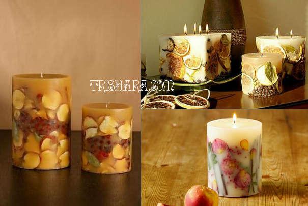Свечи с фруктами внутри