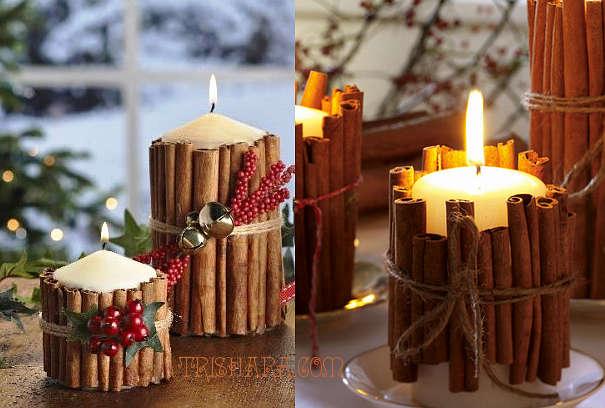 Свечи с корицей на Новый год