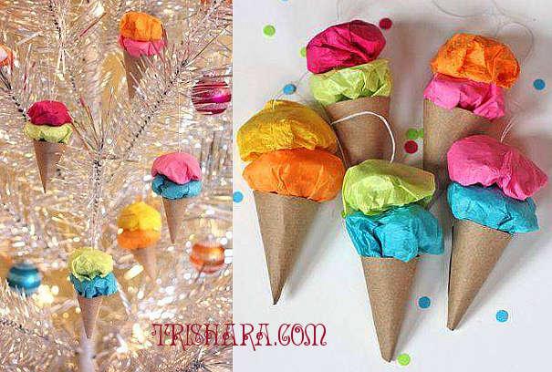 Ёлочная игрушка в форме мороженого