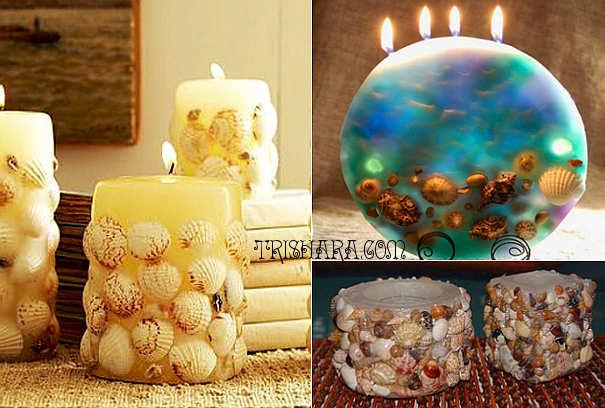 Декор свечи раковинками