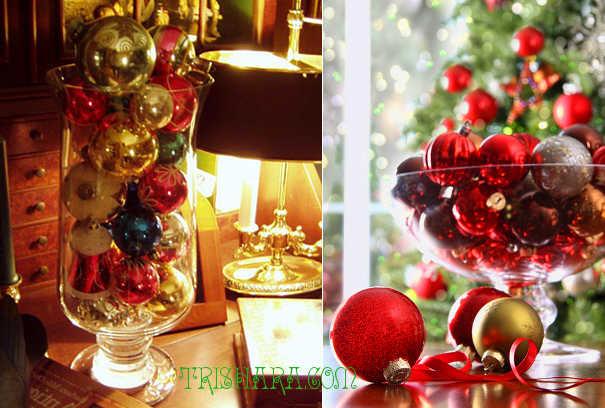 Декор с ёлочными шарами в вазах и бокалах
