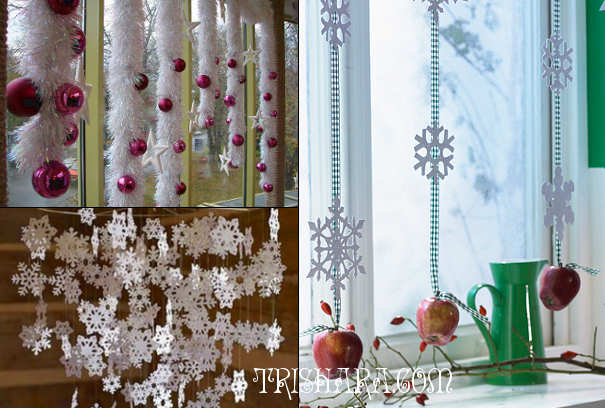 Декоративный снег на окне на Новый год