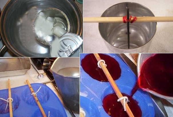 Пошаговое изготовление цветной свечи