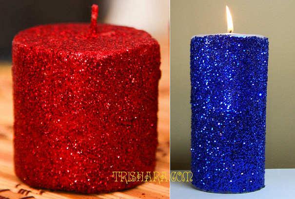 Декорированные блестками свечи