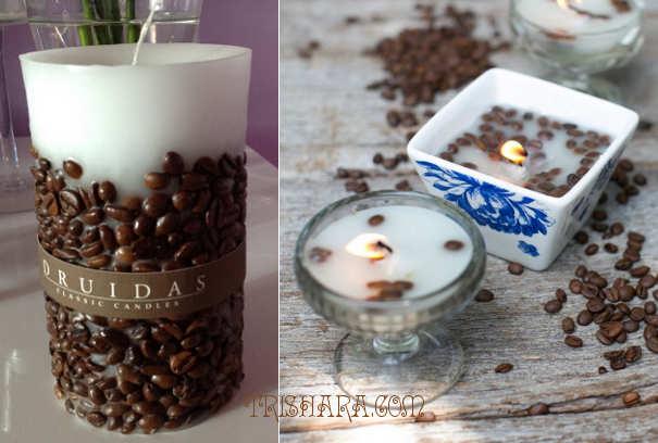 Свечи, де6корированные кофейными зернами