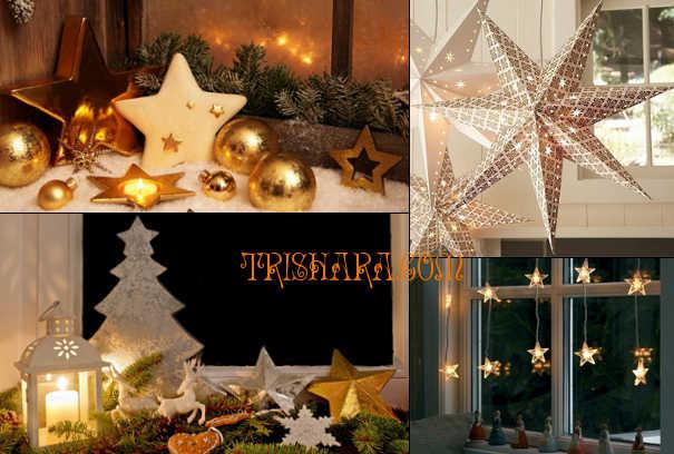 Звёзды в украшении окна на Новый год