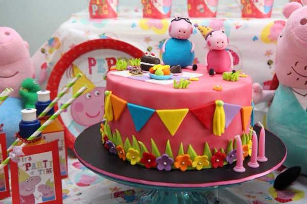 Торт на день рождения в стиле Пеппы