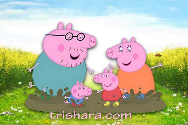 Свинки прыгают по лужам