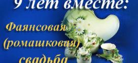Девятилетний свадебный юбилей: фаянсовая и ромашковая тематика подарков