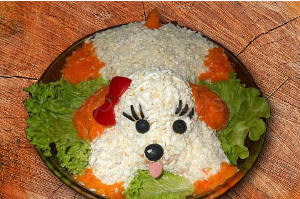 Салат в форме собаки