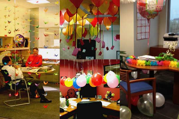 Декорирование офиса бумажными бабочками и гирляндами