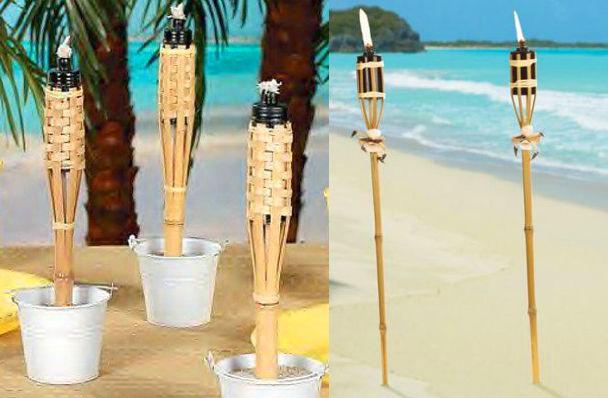 Факелы для гавайской вечеринки из тростника или бамбука