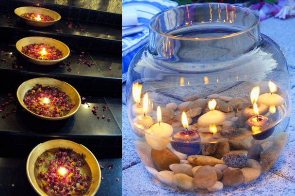Свечи в вазах с цветами