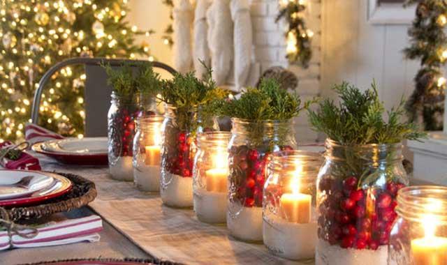 Свечки на Новогоднем столе