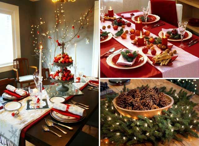 Варианты оформления центра стола на Новый год
