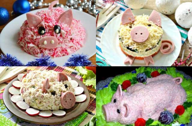 Салаты в форме свинки